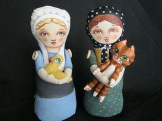 Amish and Babushka Stump Dolls  by Hally Levesque