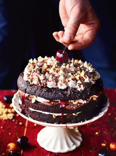 Beautiful black forest gateau by Jamie Oliver Sweet Recipes, Cake Recipes, Dessert Recipes, Black Forest Cake, Chocolate Cherry, Chocolate Cake, Chocolate Sponge, Holiday Baking, Let Them Eat Cake