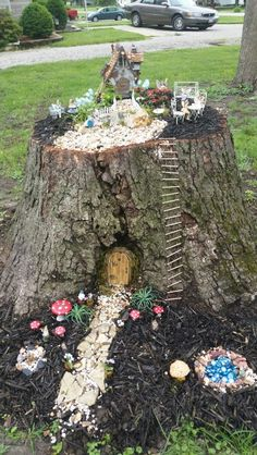 34 Lovely Fairy Garden Designs Ideas - If you want to create an enchanted space then one great way to achieve this is to make a fairy garden. Whether designing for old or young, an enchante. Fairy Garden Plants, Fairy Garden Furniture, Mini Fairy Garden, Garden Gnomes, Garden Crafts, Garden Projects, Garden Art, Fairy Tree Houses, Fairy Garden Houses