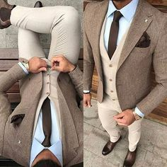Solid brown skinny necktie, tan waistcoat, tweed jacket, light blue shirt