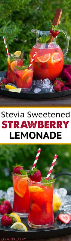 Stevia Sweetened Strawberry Lemonade - Cooking Classy