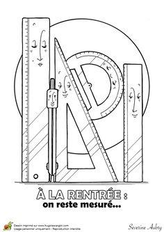 Dessin à colorier d'une fourniture scolaire, la géométrie - Hugolescargot.com