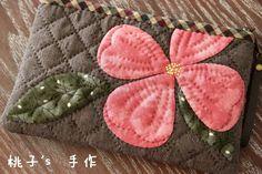 『桃子's手作』春意<wbr>桃粉色渐变<wbr>山茱萸花手拿包~