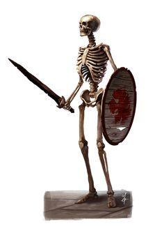 A skeleton warrior guy I made for The Dark Eye. Copyright: Ulisses Spiele Gmbh The Dark Eye - Skeleton Fantasy Races, Fantasy Warrior, Fantasy Rpg, Medieval Fantasy, Fantasy Monster, Monster Art, Fantasy Creatures, Mythical Creatures, Skeleton Warrior