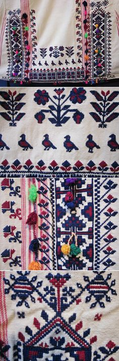 Close-ups of the (cotton on cotton) embroidered rear of a 'fistan' / 'göynek'  (woman's under-dress).  From the Karakeçeli (Yörük) villages of the Keles district (south of Bursa), mid-20th century.  The embroidered motifs show birds, flowers, geometric designs and small 'üç ok' (= 'three arrows'), the ancestral tribal mark of the Oğuz Turks, which include both Türkmen and Yörük.   (Inv.nr. gnk073 - Kavak Costume Collection - Antwerpen/Belgium).