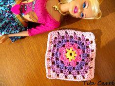 Square Rosa Barbie em Crochet