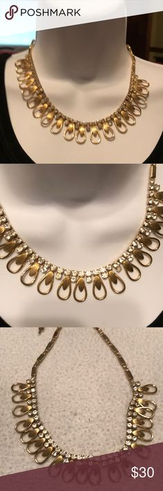 Vintage 60's Sarah Coventry Gold/ Rhinestone Vintage 60's Sarah Coventry gold and rhinestone necklace. The necklace is adjustable and in excellent condition. This is a beautiful necklace to use for every day or evening. Sarah Coventry Jewelry Necklaces