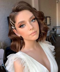 Bridal Makeup Looks, Bridal Hair And Makeup, Wedding Hair And Makeup, Prom Makeup, Eye Makeup, Short Bridal Hair, Dance Makeup, Makeup Geek, Bridal Looks