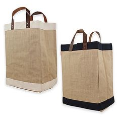 4238fa87a361 A classic tote design featuring high quality jute construction with  contrasting trim and genuine leather handles