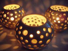 Stoneware  Luminary Candle Holder Votive White  by PromisePottery. , via Etsy.