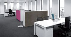 "BuzziBack to divide work spaces. ""Of course you can pin all kinds of things to this sound-insulating screen and attach it to metal cabinets. So its practical to fix your office things to and attractive in any office environment."