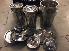 RESTAURANT SUPPLY ASSORTMENT OF STAINLESS STEEL CIRCULAR INSERTS WITH LIDS Restaurant Supply, Restaurant Equipment, Stainless Steel, Commercial Restaurant Equipment
