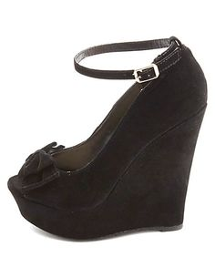 Bamboo Bow-Topped Peep Toe Platform Wedges: Charlotte Russe