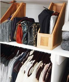 Great idea for purse storage (especially the wristlets and clutches...Wooden (or other) magazine holders.
