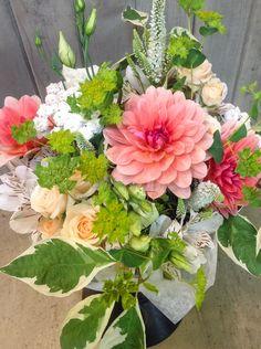 Medium size garden bouquet with dahlias ad spray roses.