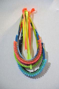 Handmade neckpieces by Nadia Dafri. Want!