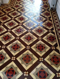 The pictures below are from a Victorian tiled floor installed in a period house in the coastal town Eastbourne. The tiles had been covered lino and carpet for years which the owner had only recentl… Victorian Tiles, Design Reference, Tile Floor, Restoration, House Design, Flooring, Retro, Interiors, Home Decor