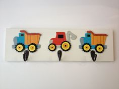 Boys Bedroom DumpTruck Theme 3 Wall Hooks Boy Backhoe Truck Nursery Room Decor
