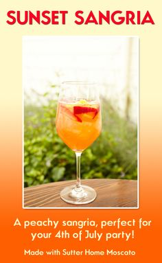 Mix all ingredients together (except peach soda) in a large pitcher or drink dispenser with ice. Let sit for one hour before serving so the flavors can mingle! Serve in wine glasses & top with peach Italian soda. Optional garnish: lemon wheel or strawberry. Tip: Double the recipe & use a 1.5L bottle of Sutter Home Moscato for a large party!