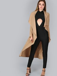 Online shopping for Khaki Waterfall Collar Belted Duster Coat from a great selection of women's fashion clothing & more at MakeMeChic.COM.
