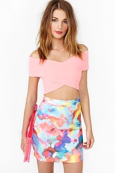 Water color skirt crop top