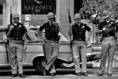 Danny Lyon  USA. Alabama. Birmingham. 1963. Armed members of the Alabama Highway Patrol near the 16th Street Church.  Image Reference  NYC16910  (LYD1962014W00003/29)  © Danny Lyon/Magnum Photo