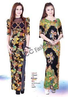 Myanmar Dress Design, Batik Fashion, Batik Dress, Traditional Dresses, Designer Dresses, Winter Fashion, Burmese, Costumes, Silk
