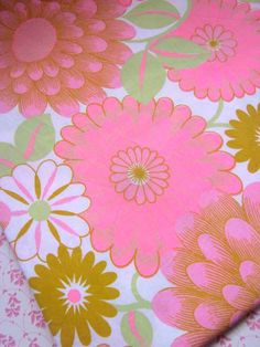 1970s Vibrant Pink Cotton Unused Sheet Fabric on Etsy, $23.00
