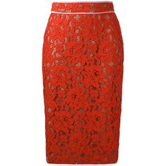 MSGM Lace Pencil Skirt ($427) ❤ liked on Polyvore featuring skirts, red lace skirt, pencil skirt, red pencil skirt, knee length lace skirt and lace pencil skirt