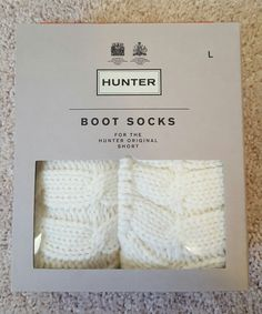 New Hunter Boots Socks Knit Fleece Short Natural White size L | Clothing, Shoes & Accessories, Women's Clothing, Hosiery & Socks | eBay!