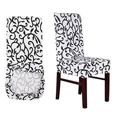 AllRight 6 Pcs Stretch Chair Cover Protective Cover With Elastic Band Stool Chair Seat Cover Slipcovers Removable Washable(White and Black)