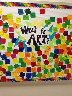 School wide bulletin board. I asked every grade (elementary) what is art? I went to home depot and got an assortment of paint chips. Each students wrote or drew their definition of art with a sharpie. Students loved looking for theirs and reading other student's on the bulletin board!