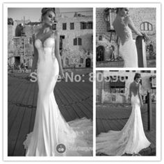 Online Shop Sexy 2015 Galia Lahav Appliques Sweetheart Mermaid Wedding Dresses With Train Open Back Long Bridal Gowns Spaghetti Straps FD133|Aliexpress Mobile