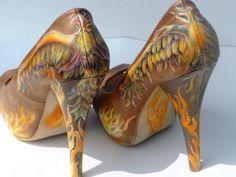 custom order, hand painted, womens shoes, high heel pumps, phoenix rising theme. $225.00, via Etsy.