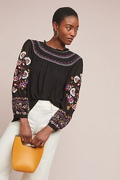 5006b942 Louise Embroidered Top Boho Tops, Clothes For Sale, Anthropologie,  Embroidered Tops, Pullover