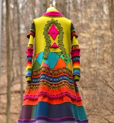 Patchwork color block sweater COAT. Size Medium. by amberstudios