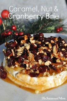 Caramel Nut and Cranberry Brie Appetizer - The Seasoned Mom - quick, easy, and fantastic!