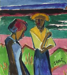 """Karl Schmidt-Rottluff  Rottluff 1884 – 1976 Berlin     """"FRAUEN AM MEER""""  1919. Oil on canvas.   73 x 65 cm (28 ¾ x 25 ⅝ in.)  Signed and dated lower right: S. Rottluff 1919. Signed and titled with brush in brown on the upper stretcher bar: Schmidt-Rottluff """"Frauen am Meer""""."""