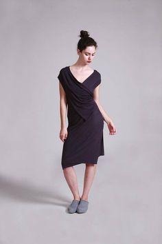 Wrap Dress Purple Summer Dress Sleeveless Knee Length