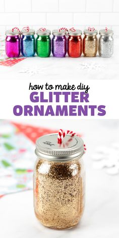 How to Make DIY Glitter Ornaments - Learn how to make these beautiful mini mason jar ornaments with glitter and Pledge Floor Gloss. It's easy and fun! Follow us on Pinterest for more Christmas ornament ideas. Unique Christmas Ornaments, Christmas Images, Simple Christmas, Christmas Eve, Christmas Ideas, Christmas Crafts, Christmas Decorations, Xmas, Glitter Jars