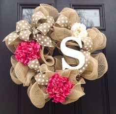 Monogrammed Wreath-Spring Wreath- Summer Wreath-Burlap Wreath-Deco a Mesh Wreath