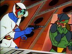 """Ken forces a Galactor soldier to contact Governor Z """"GATCHAMAN"""" Battle Of The Planets, Super Powers, Soldiers, Art Reference, Cartoons, The Incredibles, Bird, Animated Cartoon Movies, Cartoon"""