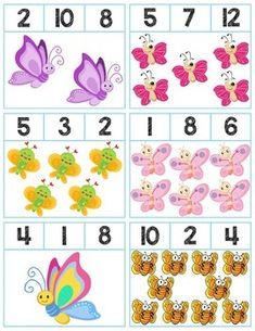 Teach counting skills with Butterflies! Great for teaching counting skills and number recognition for numbers Package includes 18 quick prep cards, great for math centers! Preschool Charts, Preschool Number Worksheets, Fun Worksheets For Kids, Preschool Learning Activities, Preschool Themes, Math For Kids, Preschool Activities, Cute Powerpoint Templates, Math Projects