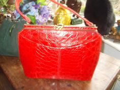 stunning red crocodile 1950's handbag