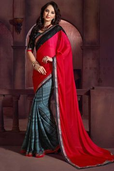 New Arrival Maroon Grey Satin Chiffon Saree with Art Silk Blouse. Embellished with Zari, resham embroidery with stone work and lace border. This is prefect for wedding, festival, casual and party wear.  http://www.andaazfashion.com/womens/sarees/view/new-arrival-saree