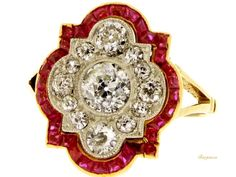 Antique Ring,  Diamond and ruby calibré ring, circa 1910. | Berganza