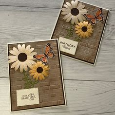 Stampin' Up! card using Bick & Mortar Embossing Folder Butterfly Cards, Flower Cards, Birthday Cards For Women, Bday Cards, Stampinup, Daisy, Stamping Up Cards, Card Patterns, Fall Cards