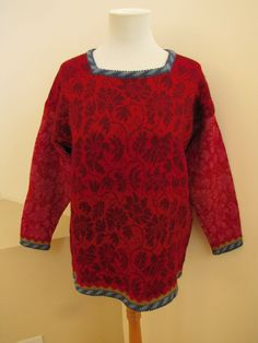 OLEANA Sweater Small Wool Norwegian Story Red Pink Damask Floral pullover S | eBay