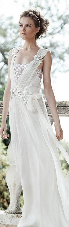 alberta ferretti bridal forever spring 2016 aurora sleeveless grecian wedding dresse flower with embellished straps #weddingdresses #2016weddingdresses #coupon code nicesup123 gets 25% off at  www.Skinception.com and www.leadingedgehealth.com