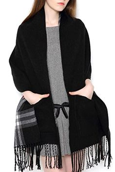 UTOVME Reversible Long Shawl Plaid Blanket Scarf Cashmere Feel Stole with Pocket >>> Continue to the product at the image link.